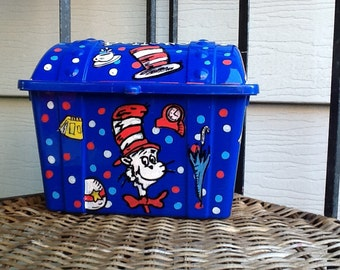 Cat in the hat box, dr. Seuss box, treasure storage box, dr. Seuss toy box, teacher reward box, school reward box, reward box,
