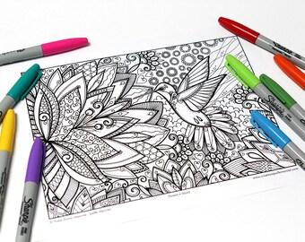 Mandala coloring, drawing #0549 printed on cardboard, coloring of relaxation, Hummingbird