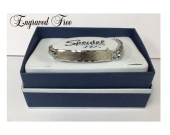 Personalized Ladies ID Bracelet Silver Custom Hand Engraved Monogrammed
