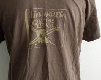 Quicksilver 'live and die on the beach' tee-shirt / brown