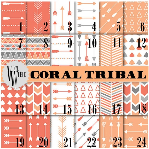 Coral Tribal Prints Mexican Aztec Arrows Gray Adhesive Vinyl, HTV or Glitter HTV. Choice of 3 sizes. 6x6, 6x12 or 12x12