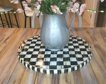 Wooden decorative serving tray/hand painted black and white checks with gold handles