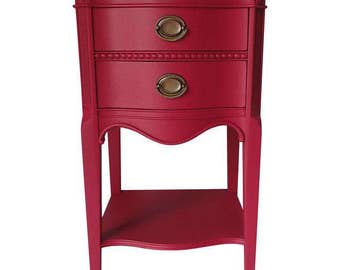 Vintage Mahogany  Nightstand Newly Painted in Raspberry  Excellent!