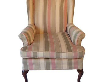 Petit Wing Back Chair With French Country Slip Cover,Country Living, French Country