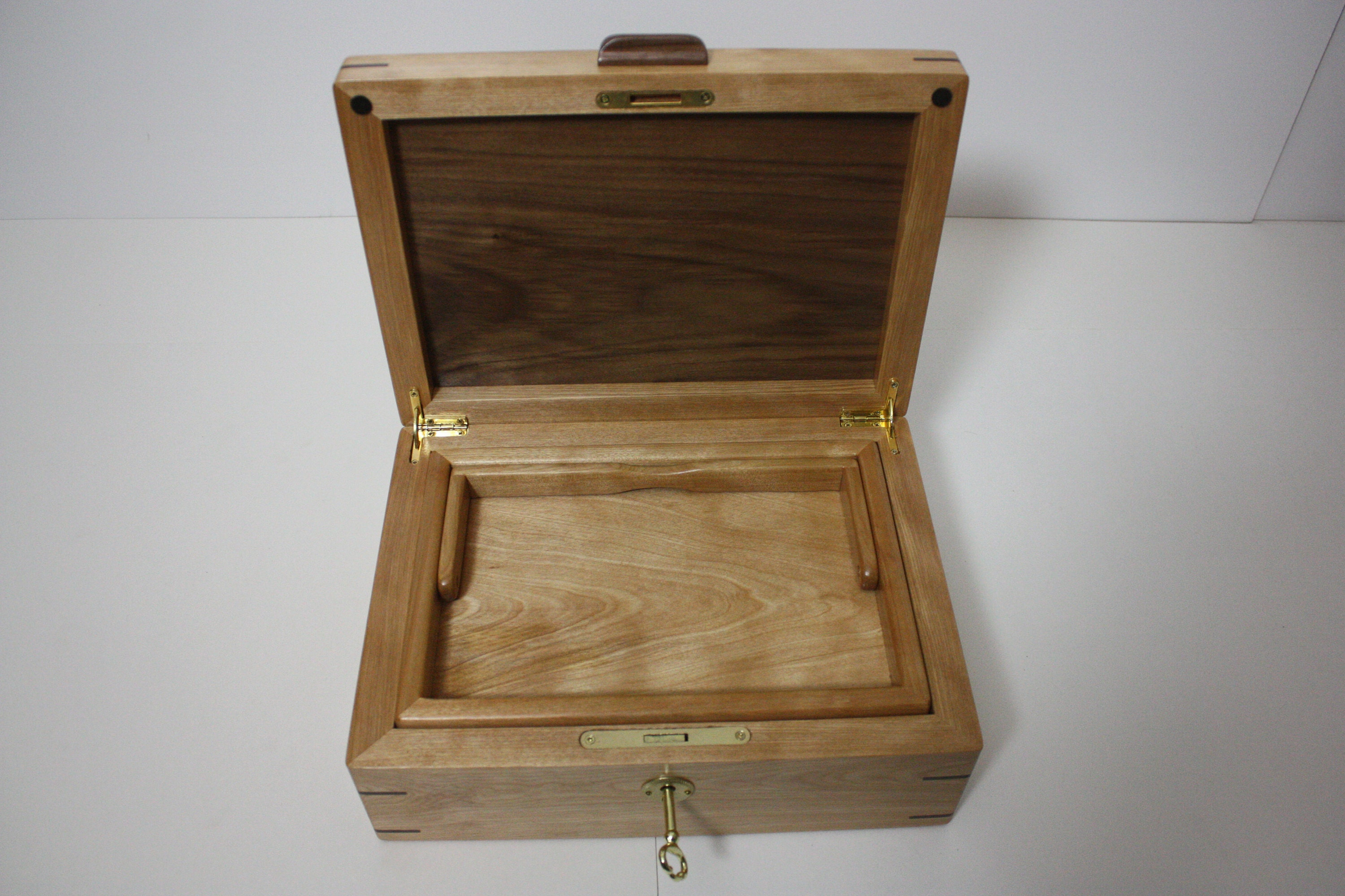 Red Birch Locking Box with Lift Out Tray For Sale