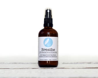 BREATHE Aromatherapy Room & Linen Mist with organic Pine, Eucalyptus + peppermint essential oils. 100% natural. 100ml