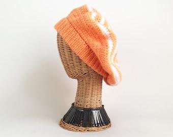 70s Hat Knit Tam Slouchy Hat Orange and White Knit Hat Vintage Winter Hat 70s Tam 70s Beanie Vintage Tam Vintage 70s Hat Orange Knit Hat