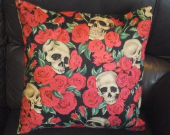 "Resting Skulls cushion/ pillow cover 16 "" × 16 ""  Skulls, Red Roses on Black"