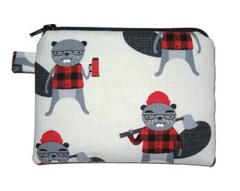 Lumberjack Beaver Coin Purse -  Padded Pouch - Zipper Coin Purse - Zippered Pouch - small Coin Purse - Boy's Coin Purse - Men's Bag