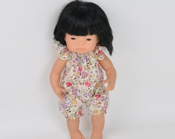 Miniland Doll clothes, 16 inch doll clothes, romper for Miniland, floral beige romper, Miniland
