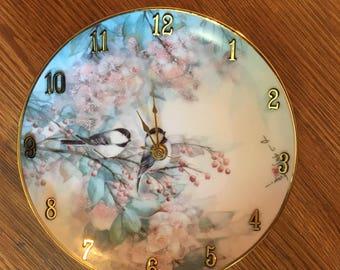 Songbird Floral 8 1/2 Inch Clock -