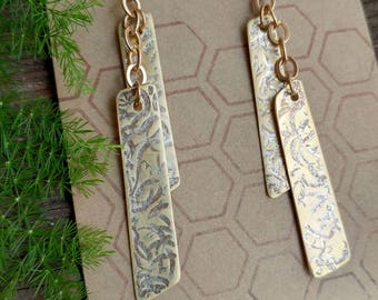 Hammered Silver and Brass Dangle Earrings