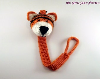 Hand-Knit Tiger Pacifier Clip - Knit Pacifier Leash - Pacifier Clip for Baby - Knitted Soother Clip - Knit Tiger Toy