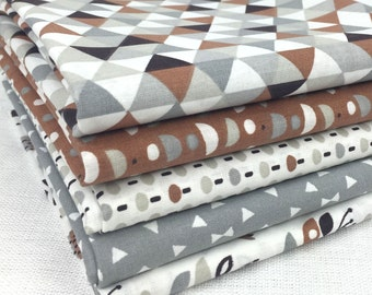 Set of 5 patchwork fabric patches Tendance Brown / Gray 50 x 50 cm
