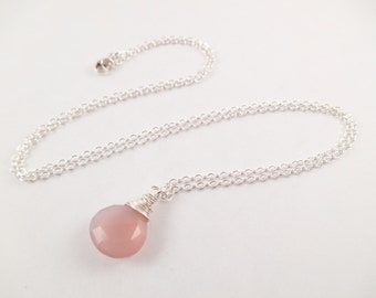 Mauve Chalcedony Necklace - Mauve Chalcedony Wire Wrapped Briolette Sterling Silver Necklace