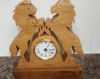 Hand crafted solid oak Horse Mantel Clock