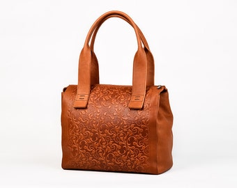 Leather purse bag, Leather tote, Shoulder bag, Leather handbag, Brown leather bag