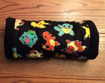 12 inch Fleece/Cotton tunnel, Black Pokemon, for hedgehogs, guinea pigs, rats, sugar gliders and other small animals