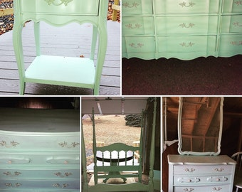 SOLD Bedroom Suit Girls Bedroom Vintage Minty Green Twin Bed Dressers Night Stand *do not ship*