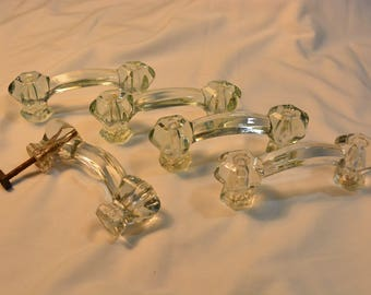 Set of 5 Vintage Clear Glass Drawer Pulls * Elegant Glass Door Pulls * Hollywood Regency * Classic Romance * Decorative Drawer Pulls * Glass
