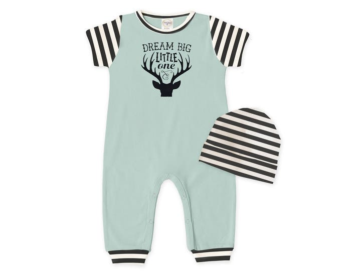 Baby Boy Coming Home Outfit, Baby Romper Beanie, Baby Bodysuit, Short Sleeve Romper, Woodland, Dream Big, TesaBabe RC860SGIB0311