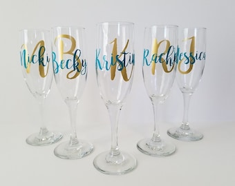 9 Personalized Champagne Glasses, Bridesmaid Champagne Glasses, Toasting Flutes, Personalized Champagne Flutes