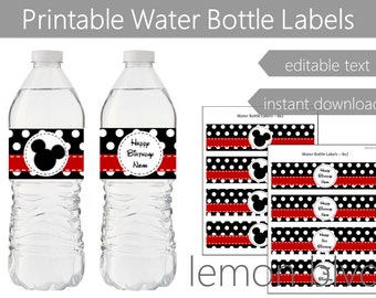 Mickey Mouse Party Bottle Labels | Mickey Instant Digital Download | Editable Text | Mickey Black Polka Dots Party Water Bottle Labels