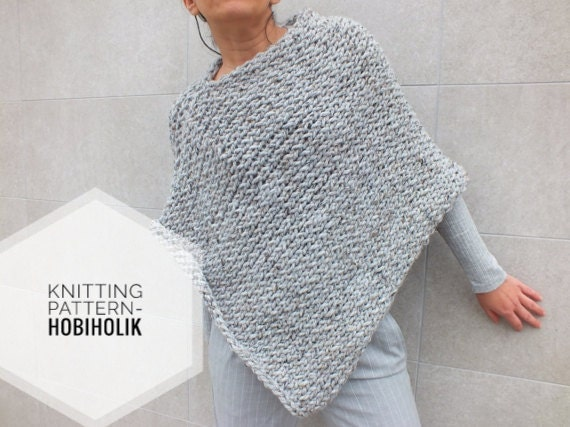 Poncho Knitting Pattern : Pattern Poncho Easy to knit poncho pattern Beginner