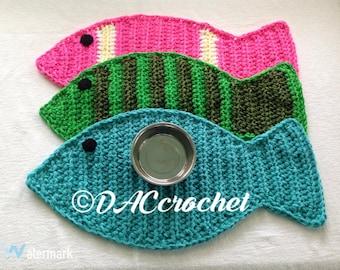 Crochet PATTERN   Fish Placemat Rug; Cat Pet Food Floor Mat; Fish Shape Rug