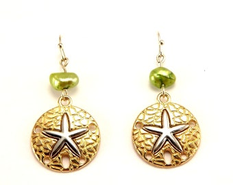 Vintage Silver Starfish On gold and Copper Fishook Earrings