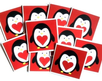 Penguin Valentine Cards, classroom valentines for kids, Kids Valentines Day Cards, Kids Valentine Cards, school valentines, Set of - 10