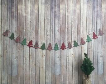 Christmas Tree Banner, Holiday Banner, Christmas Decor, Mantle Decor, Holiday Decor