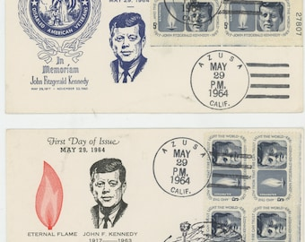 First Day Of Issue 1964 John F. Kennedy, Envelope With a Plate Block on it.  Brookman # 1246....  1535a