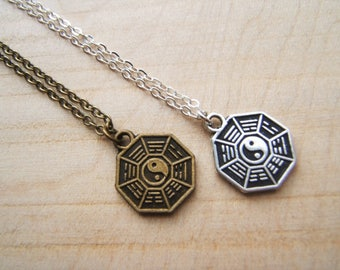 Small Bagua pendant necklace. Yin Yang. I Ching .Silver or bronze tone.