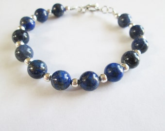 Gemstone Bracelet - Handmade Wire Wrap Sodalite Gemstone Bracelet - Gemstone Chakra Healing - Courage Bracelet - Communication Bracelet