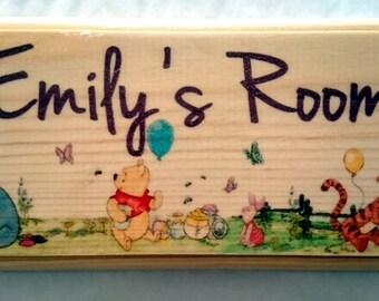 Personalised Winnie The Pooh Plaque / Sign / Gift - Bedroom Door Baby Kids
