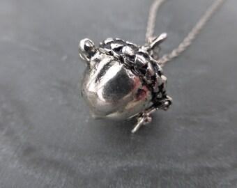 Antiqued Silver Acorn Wish Box Locket Pendant With 925 Sterling Silver Chain - Secret Memory Keeper - Prayer Box - Nut - Oak - Woodland