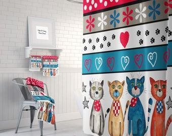 Cat Shower Curtain, Bath Towels, Bath Mat Optional  Adorable Colorful Cat Theme Bathroom Decor