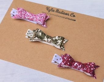 Pink and gold glitter petite bow clip set, baby hair clips