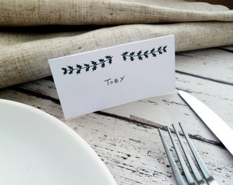 Hand-drawn Holly Branch Place Cards // Christmas Table Decor // Pack of 8