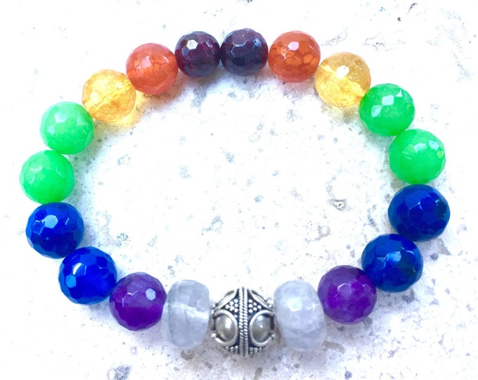 Chakra Bracelet, Stunning High Quality Natural Gemstones, Slip on Design