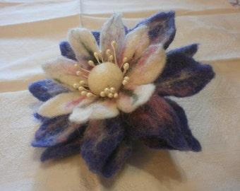 Felt brooch, white pink purple flower brooch, big brooch,purple brooch, felt flower, purple jewerly, felt flower brooch ,felt pin,big flower