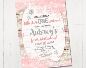 Winter onederland invitation wonderland Birthday Snowflake girl first 1st birthday pink and silver wood whimsical Printable digital