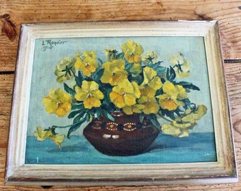 1914 Oil painting by Louis Roquier (1873-1929) bouquet of yellow pansies, Swiss painter Impressionism Flower Still Life Signed
