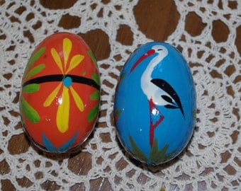 Polish Easter Eggs Pysanky Hand painted decorative wood eggs Pysanka Set of 2 stork floral flowers black blue orange Polish Folk Art 80s
