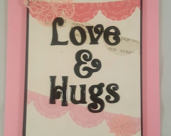 Handmade Love and Hugs valentine day card with free shipping