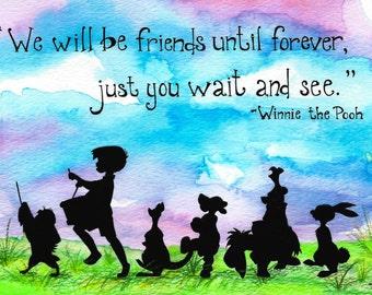 PRINT - Winnie the Pooh and Friends, Walt Disney, Friendship, Kid's Art, Children's Art, Room Decor