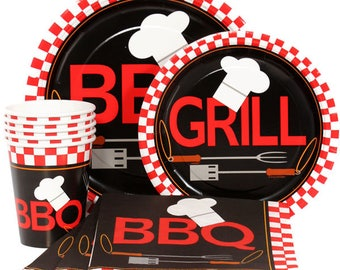Backyard Barbecue Celebration Pack Service For 16 - Includes Tablecover! Perfect Summer Party Tableware - Fire Up The Grill!