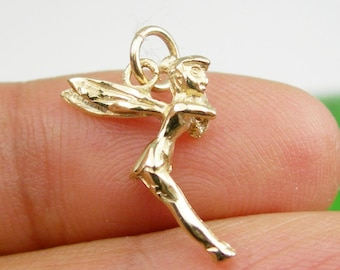Solid 3 Dimensional Cute Tinkerbell Wings Fairy Charm Pendant Genuine 375 9ct 9k Yellow Gold 0r 7750 18ct Yellow Gold - C146