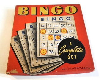 Vintage BINGO Game - Whitman Publ Co, #1977 - fun family game night, 16 cards, paper markers, shower, retro, decor, craft supply, supplies